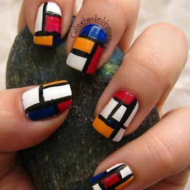 Mondrian manicure nail art by Vedrana Brankovic