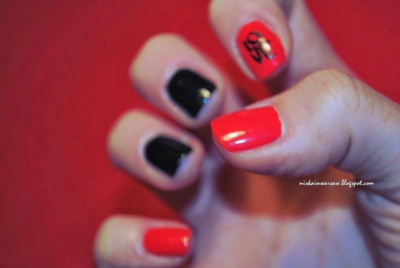 black&red love nails nail art by Niska