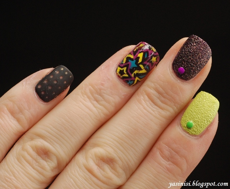 Sand-advance stamping-leather nail art by Yasinisi