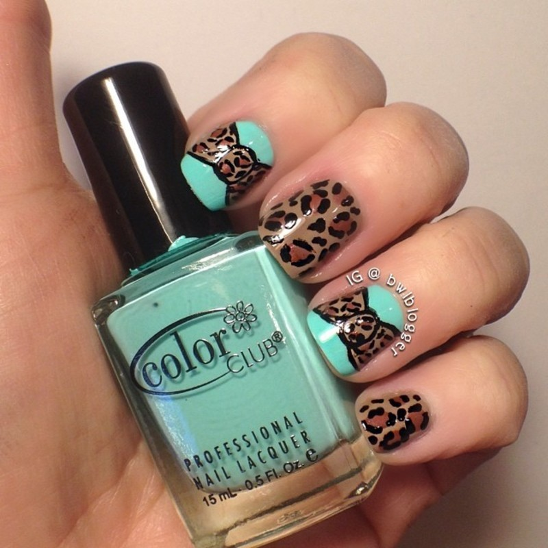 Leopard and Bows nail art by Ashley