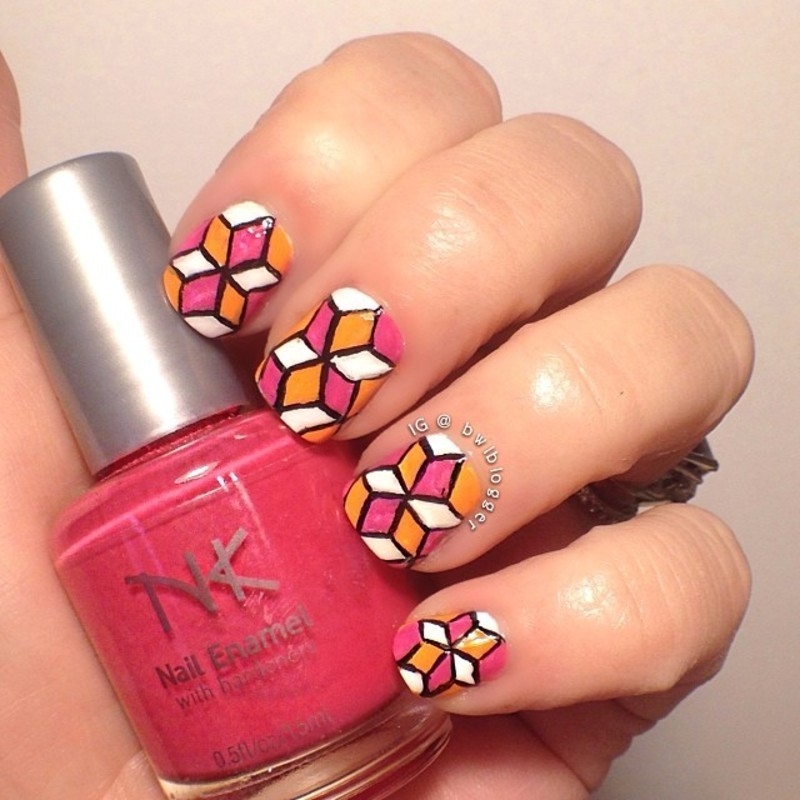 Cubes on Cubes on Cubes nail art by Ashley