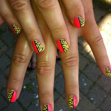 Tribal Aztec Inspired nail art by Courtney Haines