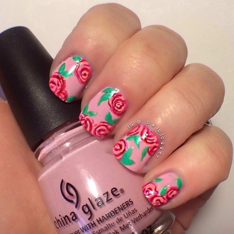 Girly Floral nail art by Ashley