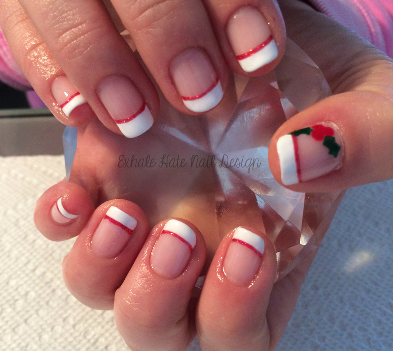 Christmas Holly nail art by Courtney Haines
