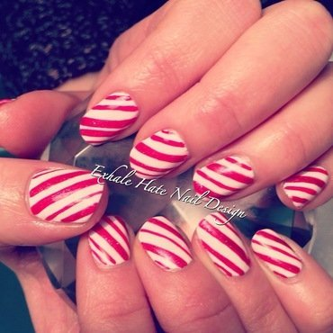 Candy Cane Nails nail art by Courtney Haines