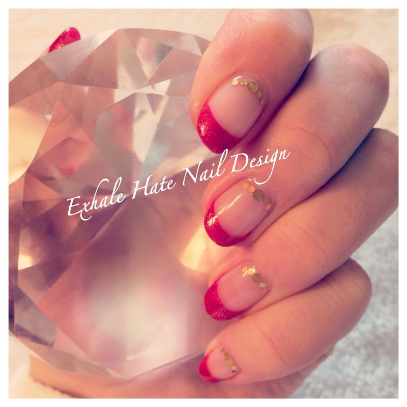 Christmas French nail art by Courtney Haines