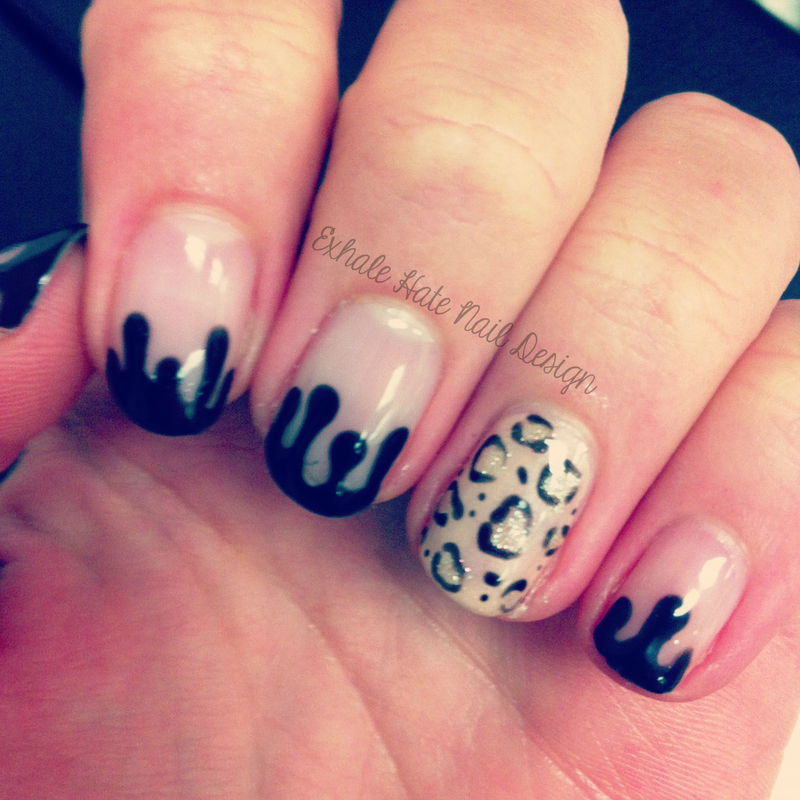 Drips and Leopard nail art by Courtney Haines