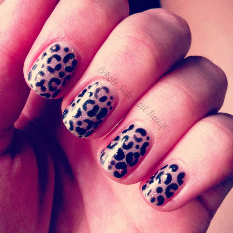 Glittery Leopard nail art by Courtney Haines