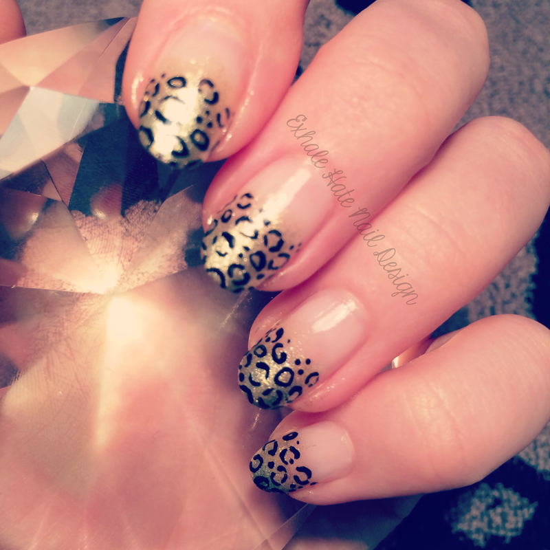 Gold Leopard French nail art by Courtney Haines