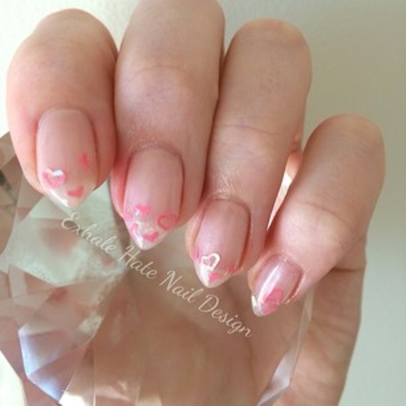 Encapsulated Hearts nail art by Courtney Haines
