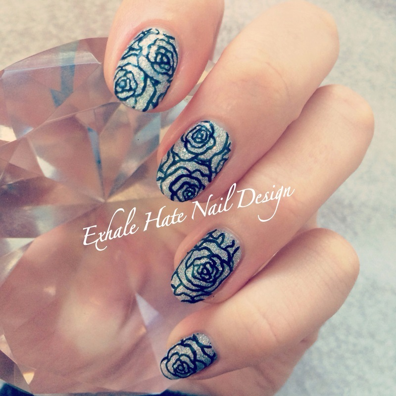 Glitter Lace Roses nail art by Courtney Haines