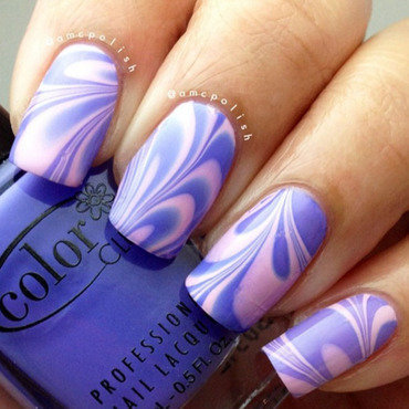Watermarble nail art by Amber Connor