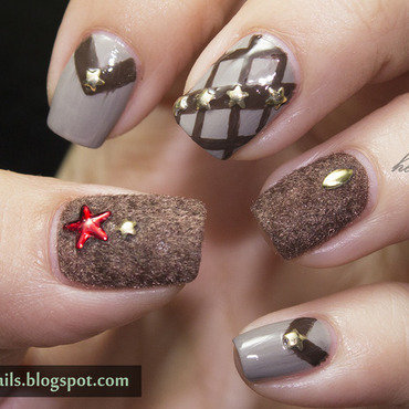 Brown Mix and Match nail art by Victoria Oen