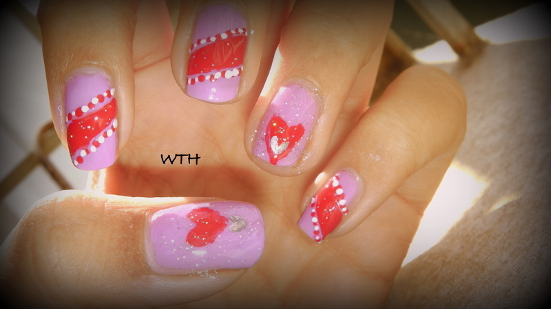 Lace-y Hearts nail art by Nailz4fun