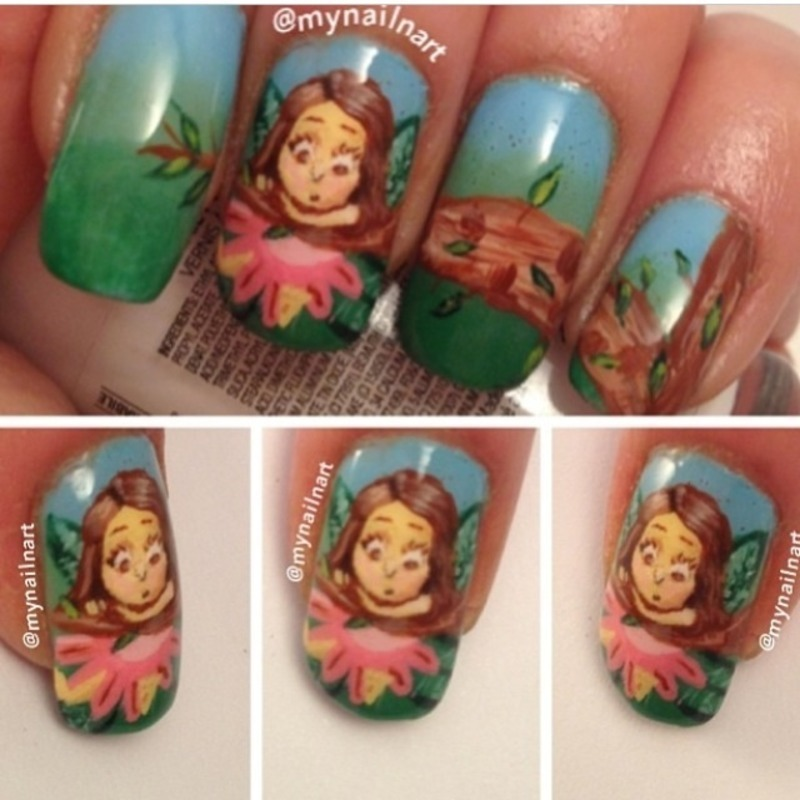 fairy in the woods nail art by mynailnart
