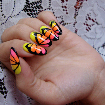butterfly nails nail art by ania