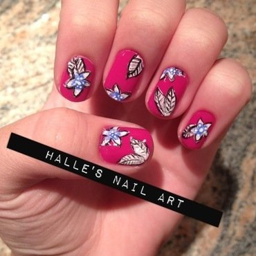 Fuschia Floral nail art by Halle Butler