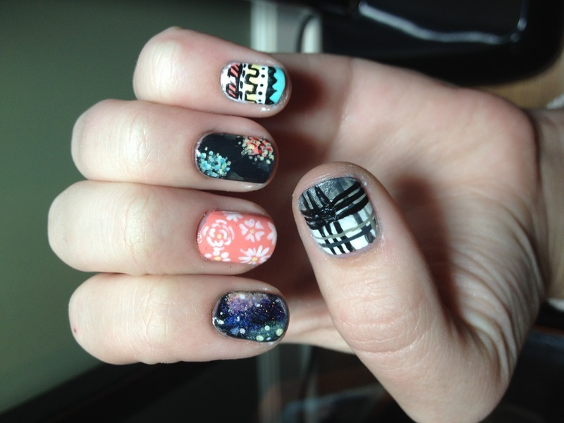 Mismatch nail art by Halle Butler