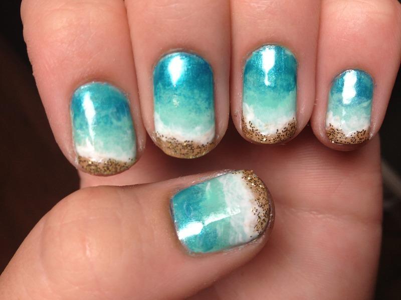 Beachy Keen nail art by Halle Butler