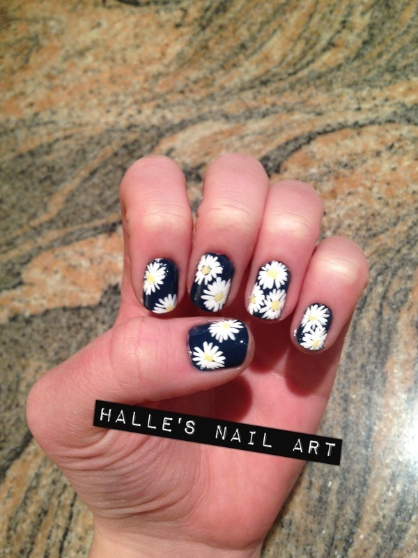 Daisies on Navy nail art by Halle Butler