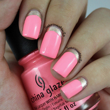 Coral & Rose Gold Ruffian Nails nail art by Sabrina
