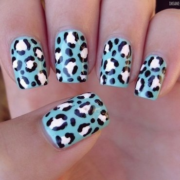 Mint leopard nails nail art by Sanela