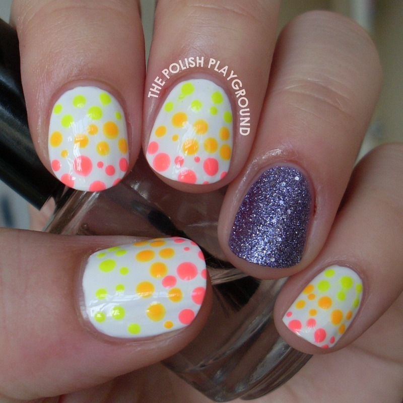 Neon Spotted Nail Art with Texture Accent nail art by Lisa N