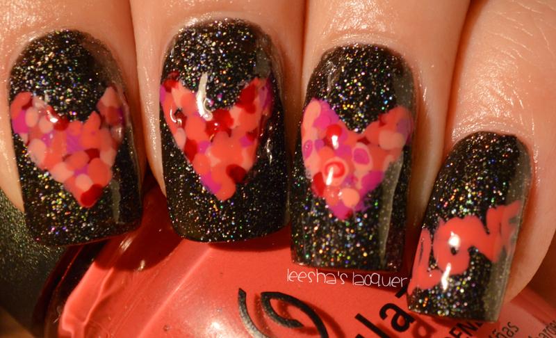 Mosaic Hearts nail art by Leesha