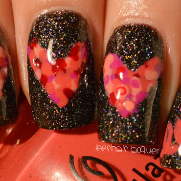 Mosaic Hearts nail art by Leesha