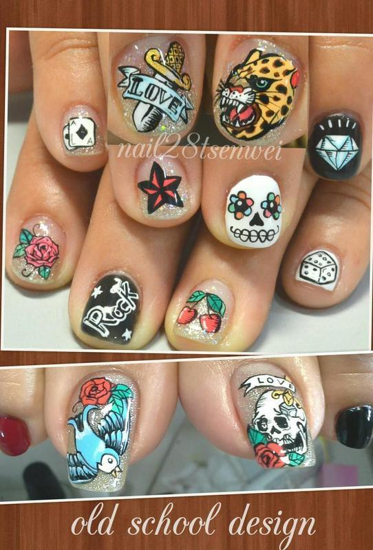 old school nail art by Weiwei