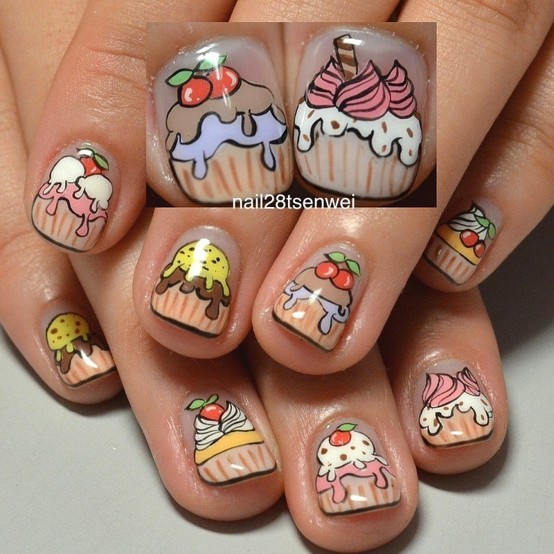 cup cake nail art by Weiwei