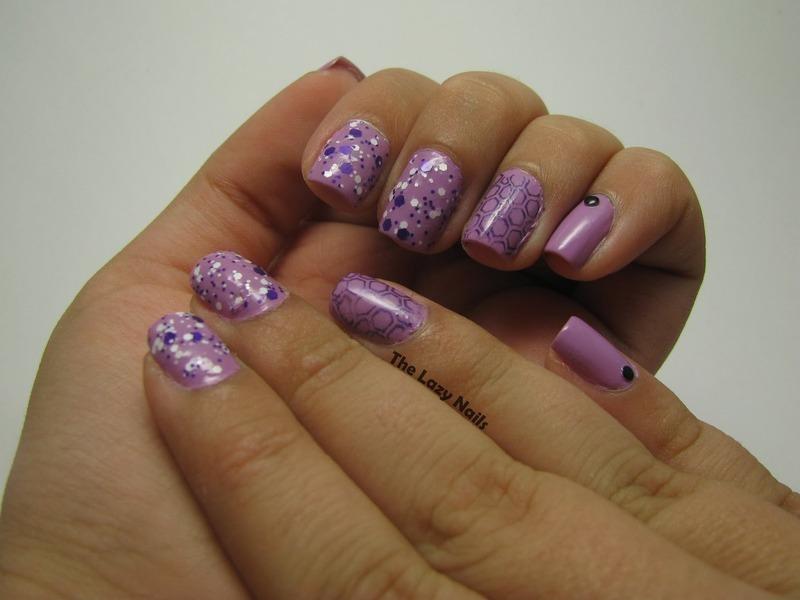 Purple hexagons meet nubs nail art by Hadas Drukker