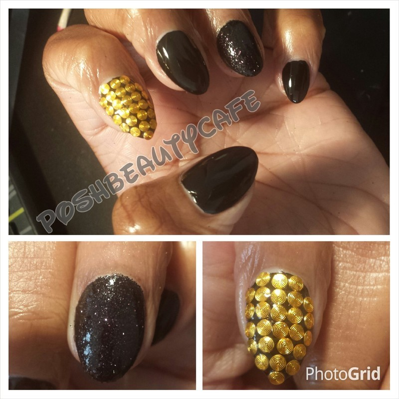 black gold nail art by Nika ashfaq
