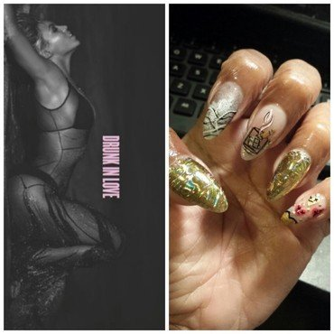 cigars on ice...drunk in luv nail art by Nika ashfaq