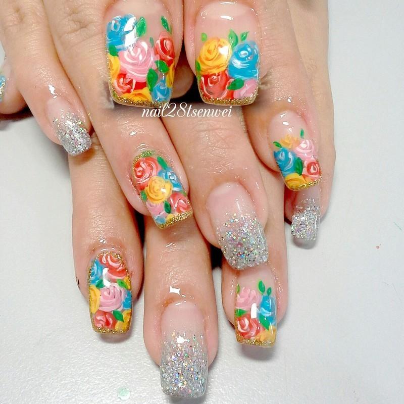 rose nail art by Weiwei