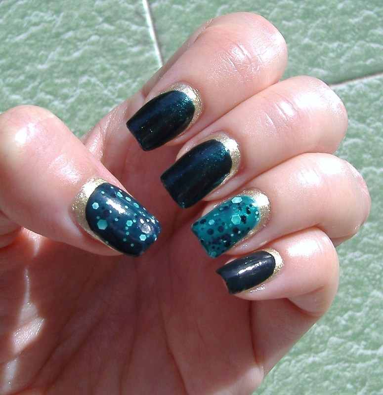 Gold and green French reverse with gold also under the nails nail art by sissynailsmakeup