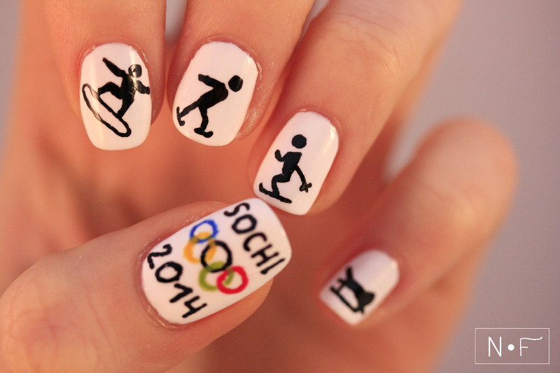 Winter OLympics nail art by NerdyFleurty