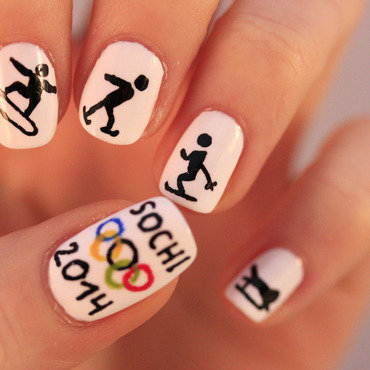 Winter OLympics nail art by NerdyFleurty