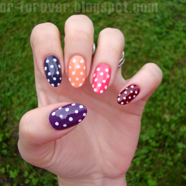 skittles & polka dot manicure nail art by ania