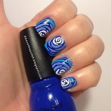 Blue Flower nail art by Ashley