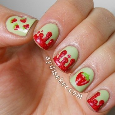 Strawberry Jam nail art by Aydi Seker