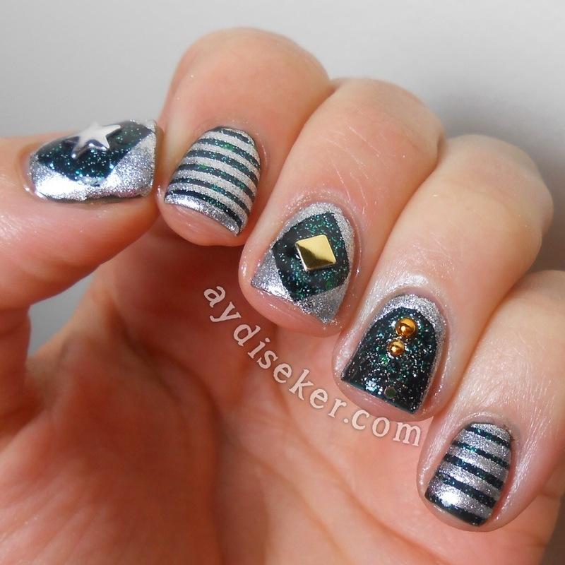 Dark Green & Silver nail art by Aydi Seker