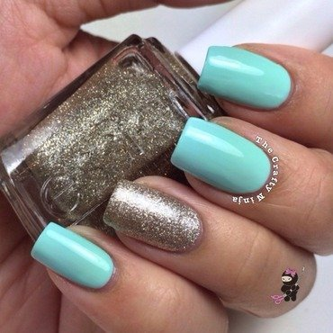 Mint and Sparkle  nail art by TheCraftyNinja