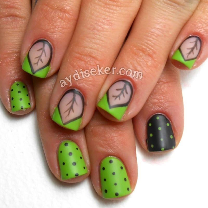 Chevron Leaves & Polka Dots nail art by Aydi Seker
