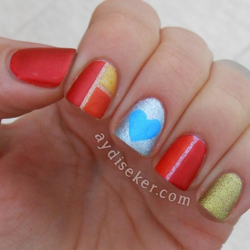 Metallic Colour Block & Heart nail art by Aydi Seker