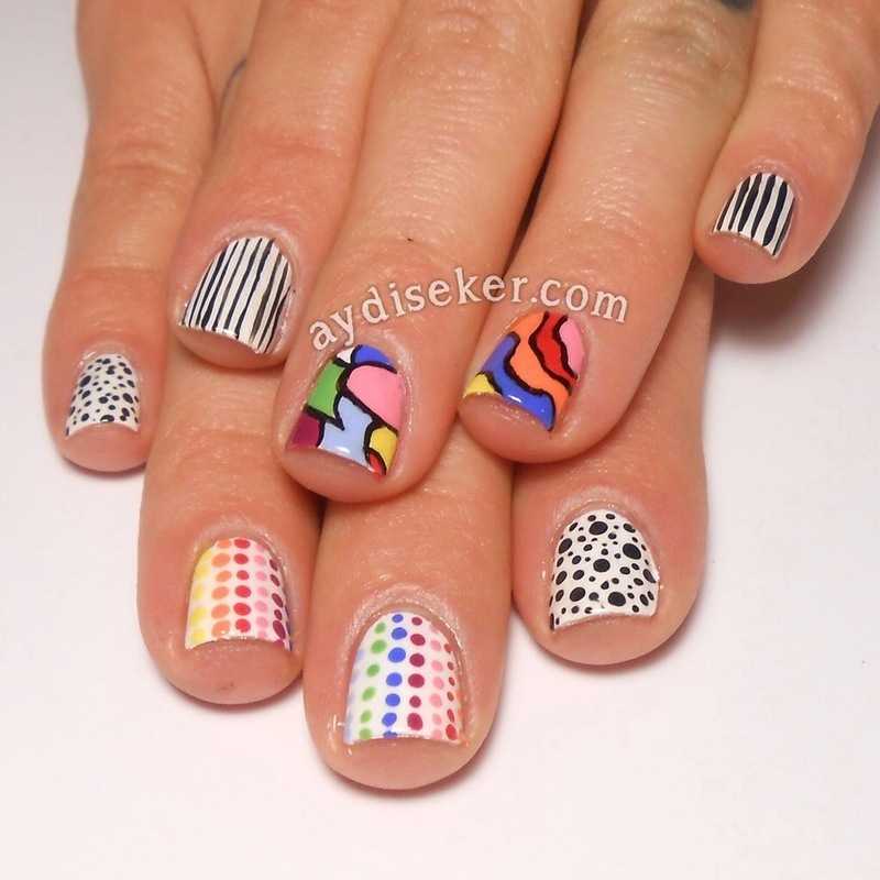 Rainbow Colours & B&W nail art by Aydi Seker