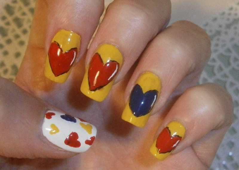 my hearts: three primary colors nail art by sissynailsmakeup
