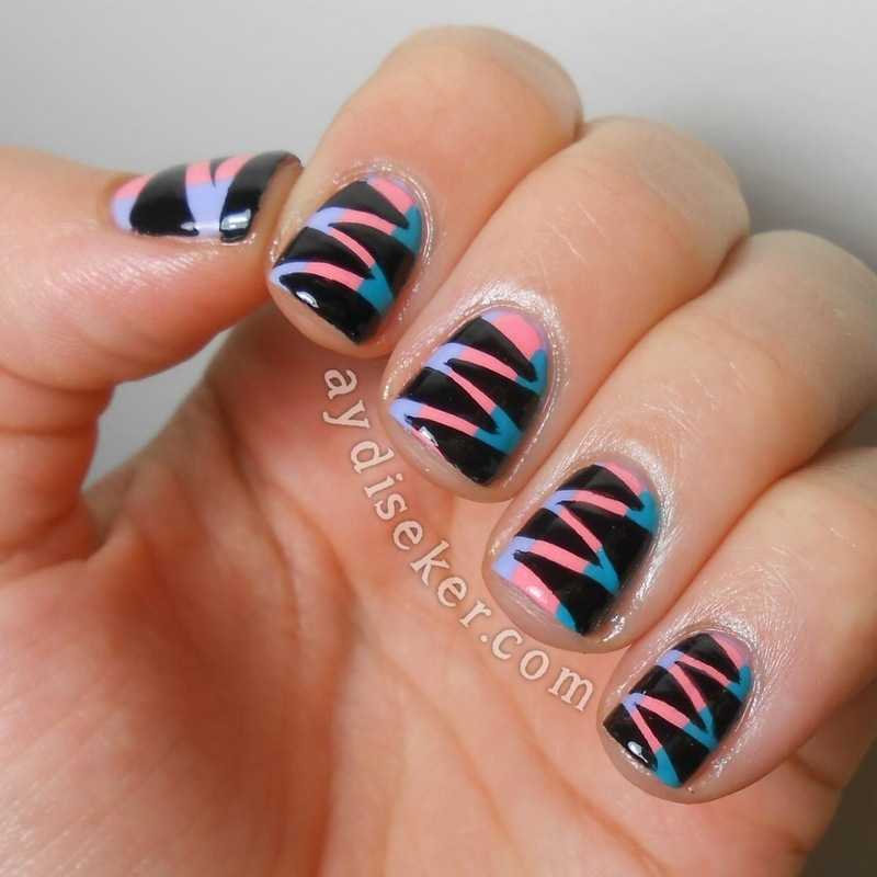 Striped Zig-Zags nail art by Aydi Seker