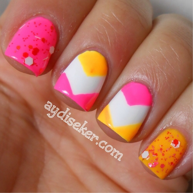 Neon Chevron nail art by Aydi Seker