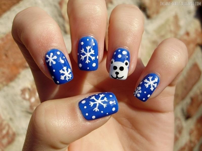Snow bear nails nail art by Sanela